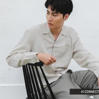 【H:CONNECT】韓國品牌 男裝 -簡約素色嫘縈襯衫(灰色)