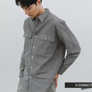 【H:CONNECT】韓國品牌 男裝 -直條紋雙口袋棉麻襯衫(綠色)