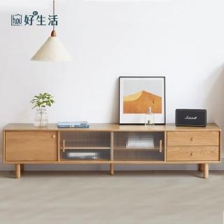 【hoi! 好好生活】原木日式奈良白橡木實木玻璃2M電視櫃 N0423