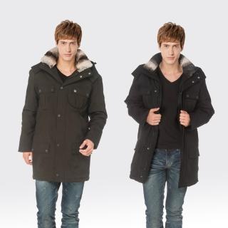 【SAMLIX 山力士】JIS90%男防潑水保暖羽絨大衣外套#682(黑色.墨綠)