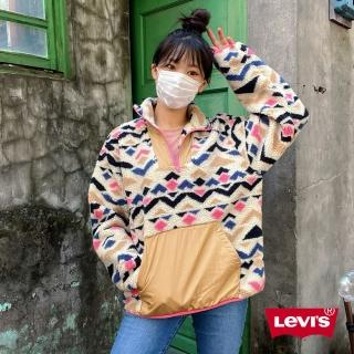 【LEVIS】女款 幾何民族風口袋毛衣 / Sherpa棉花絨 / 回收再造纖維