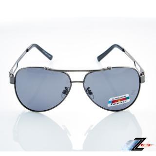 【Z-POLS】名牌風格時尚帥氣寬版設計寶麗來偏光抗UV400太陽眼鏡(Polarized頂級偏光)