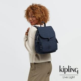 【KIPLING】都市沉穩藍拉鍊掀蓋後背包-CITY PACK S
