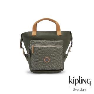 【KIPLING】沉穩質感綠雙側插扣手提後背兩用包-TSUKI S
