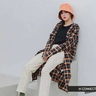 【H:CONNECT】韓國品牌 女裝 -格紋長版連帽襯衫(黑色)