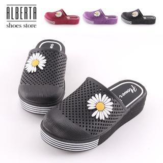 【Alberta】4cm防水防雨拖鞋 PU小雛菊 圓頭楔型厚底半包鞋 海灘鞋 雨鞋 防水台