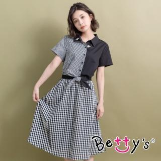 【betty's 貝蒂思】格紋拼接縮腰洋裝(黑色)