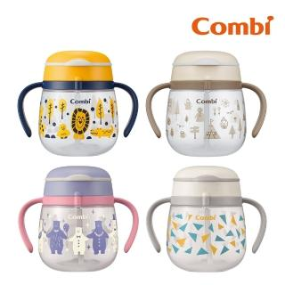 【Combi】LakuMug樂可杯第3階段吸管杯240ml 派對小熊/繽紛三角
