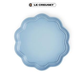 【Le Creuset】瓷器蕾絲花邊盤 22cm(海岸藍)