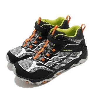 【MERRELL】戶外鞋 Moab FST Waterproof 童鞋 登山 越野 運動 魔鬼氈 耐磨 中大童 黑 白(MK264170)