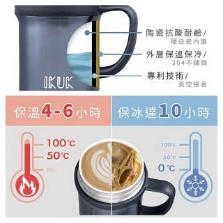 【IKUK 艾可】陶瓷內膽直飲保溫杯600ml日常牛奶杯(內陶瓷保溫直飲杯最大容量;bialetti ikuk 公司貨)