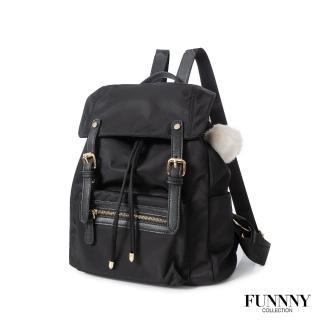【FUNNNY】質感加厚防潑尼龍後背包 Vanessa 經典黑