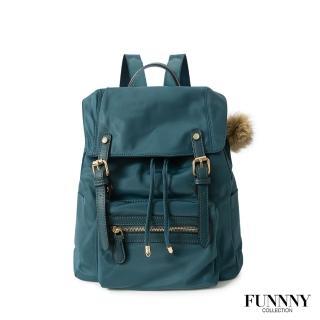 【FUNNNY】質感加厚防潑尼龍後背包 Vanessa 孔雀藍
