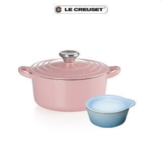 【Le Creuset】琺瑯鑄鐵圓鍋18cm薔薇-鋼頭+早餐碗盤組(momo獨家限量組)