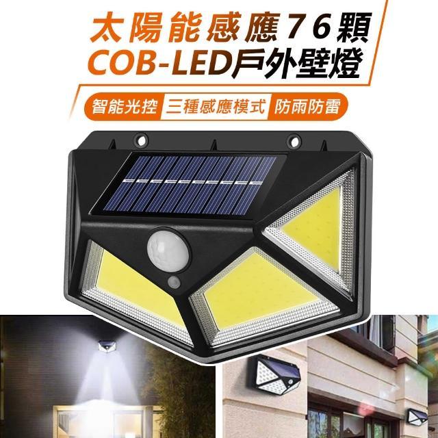 【台灣霓虹】太陽能感應76顆COB-LED戶外壁燈/
