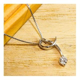 【微笑安安】迴舞單鑽925純銀精鑲鋯石項鍊