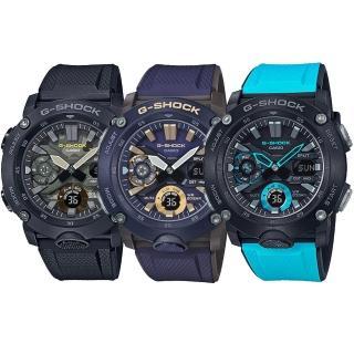 【CASIO 卡西歐】G-SHOCK 碳纖維防護雙顯手錶(GA-2000/GA-2000S/GA-2000SU系列)
