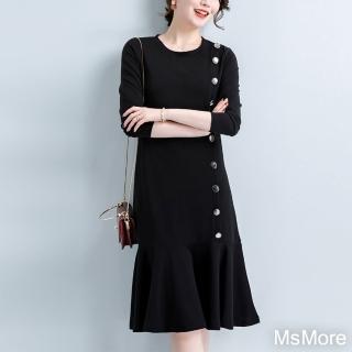 【MsMore】小香風氣質搖曳顯瘦遮肉洋裝#107525現貨+預購(黑色)