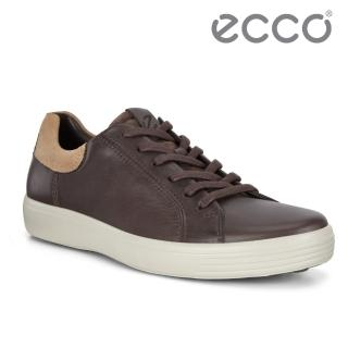【ecco】SOFT 7 M 單色撞色設計輕便休閒鞋 男鞋(摩卡棕 47005452314)