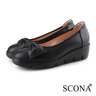 【SCONA 蘇格南】全真皮 拇指外翻 輕盈舒適蝴蝶結楔型鞋(黑色 31080-1)