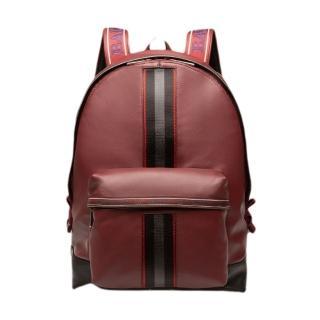 【BALLY】酒紅色BALLY邊條牛皮子母後背包(後背包)/