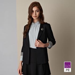 【ILEY 伊蕾】紋理感微彈撞色七分袖西裝外套(黑)