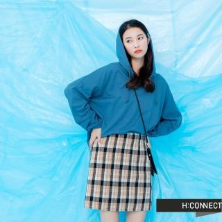 【H:CONNECT】韓國品牌 女裝 -質感手袖層次設計帽T(藍色)