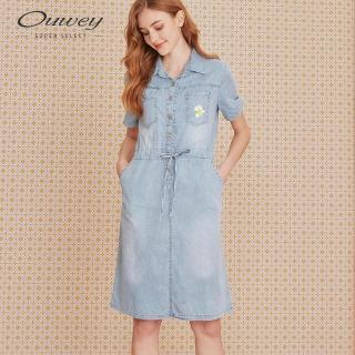 【OUWEY 歐薇】小雛菊刺繡收腰刷色牛仔洋裝(藍)