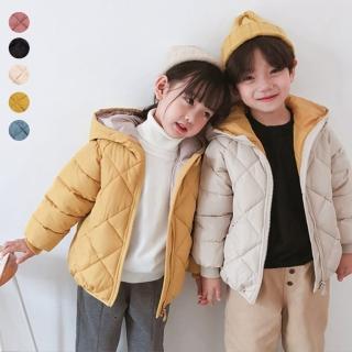 【橘魔法】兒童菱格連帽鋪棉外套(厚外套 長袖外套 連帽外套 中性款 羽絨外套 保暖 外套 女童 男童 橘魔法)