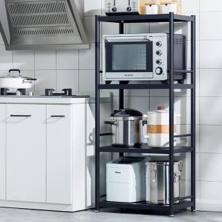 【HappyLife】黑色不鏽鋼置物架 四層60CM YV9990(落地置物架 家電收納架 微波爐烤箱氣炸鍋架 廚房置物架)