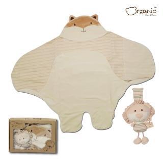 【Oragnic】有機棉超值2件式禮盒-狐狸包巾+獅子音樂鈴/嬰兒包巾禮盒(禮盒裝)