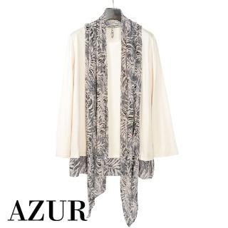 【AZUR】都會休閒兩件式幾何條紋上衣