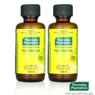 【ThursdayPlantation 星期四農莊】澳洲茶樹精油100mlX2(附滴管全配盒裝 買1送1★居家抗菌清潔必備)
