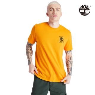 【Timberland】男款深起司黃迷彩標誌LOGO有機棉短袖圓領T恤(A2AFV804)