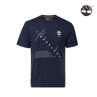 【Timberland】男款深寶石藍色肯尼貝克河印花有機棉短袖圓領T恤(A2EMH433)