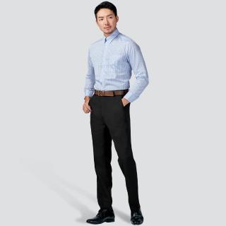 【Emilio Valentino 范倫提諾】商務平面西裝褲(彈性黑)