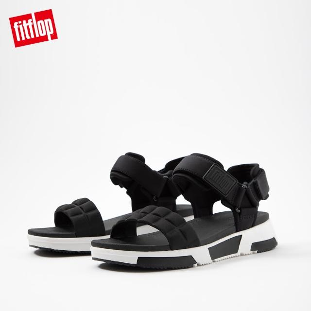 【FitFlop】HAYLIE QUILTED CUBE BACK-STRAP SANDALS 運動風後帶涼鞋-女(黑色)
