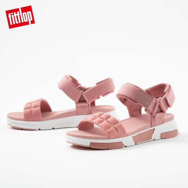 【FitFlop】HAYLIE QUILTED CUBE BACK-STRAP SANDALS 運動風後帶涼鞋-女(玫瑰褐)