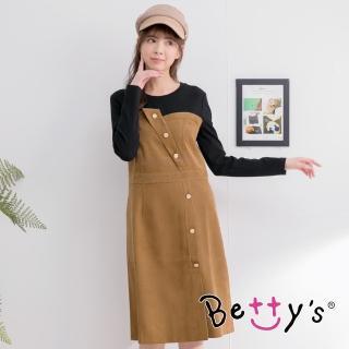 【betty's 貝蒂思】飾釦拼色長洋裝(駝色)
