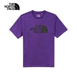 【The North Face】The North Face北面男女款紫色黑LOGO短袖T恤|5B3QNL4