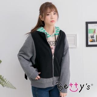 【betty's 貝蒂思】率性拼布羅紋外套(黑色)