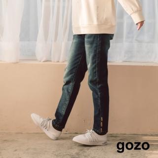 【gozo】筆刷手繪印花內刷毛彈性牛仔褲(深藍)