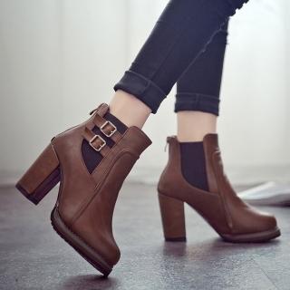 【LN】現貨 歐美復古粗跟皮帶扣短靴(短靴/靴子)