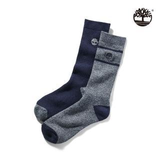 【Timberland】中性深藍灰條紋兩雙組高筒長襪(A1F66451)