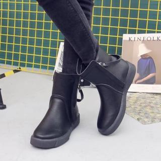 【LN】現貨 歐美風純色雙拉鍊軟底短靴(短靴/靴子)