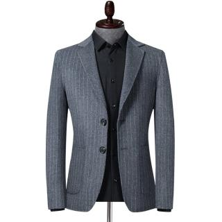 【米蘭精品】毛呢外套羊毛西裝(翻領條紋防皺商務男外套2色73yu37)