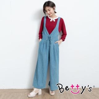 【betty's 貝蒂思】鬆緊腰圍連身牛仔褲(淺藍)
