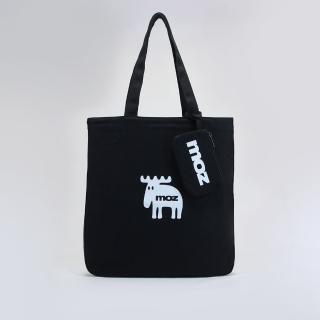 【moz】瑞典小駝鹿肩背托特包 附卡夾(黑)
