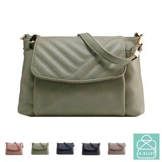 【89.Alley】側背包 手感軟皮革線條三層款兩用斜背包 女包(5色)
