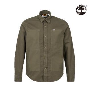 【Timberland】男款軍綠色拼接有機棉長袖襯衫(A2F3RA58)